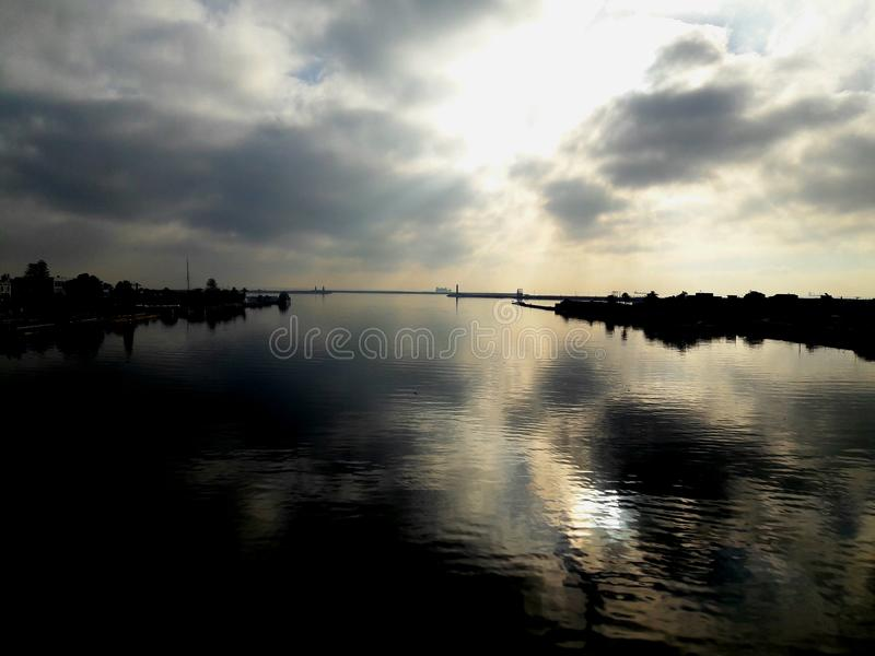 River nature sunrise dream reflection stock photo
