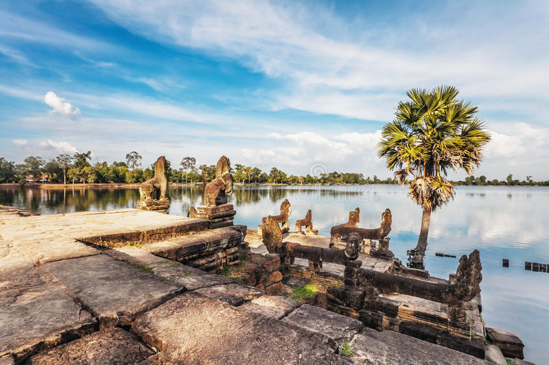 Download River Near Ancient Buddhist Khmer Temple In Angkor Wat Complex Stock Image - Image: 32036309