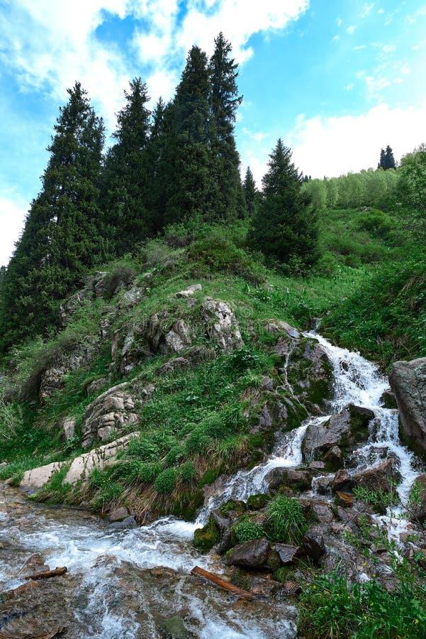 River near butakovsky waterfall near Almaty. Landscape nature stone stock image