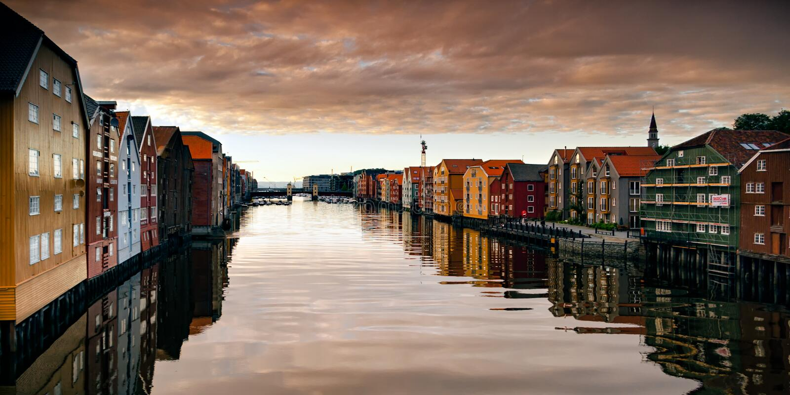 River Nid or Nidelva running through Trondheim, Norway. This is the River Nid or Nidelva, which runs through Trondheim to the Trondheims fjord and was taken royalty free stock photography