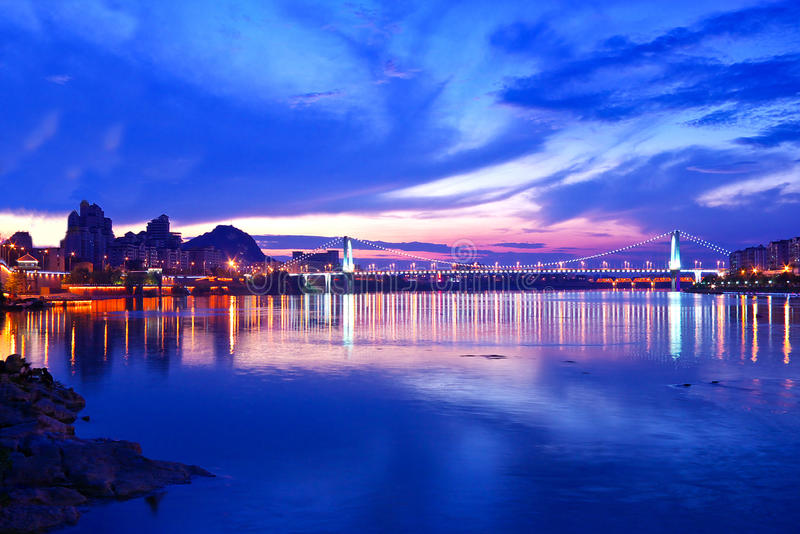 The river at night. Just before sunset, beautiful night view of the river royalty free stock photography