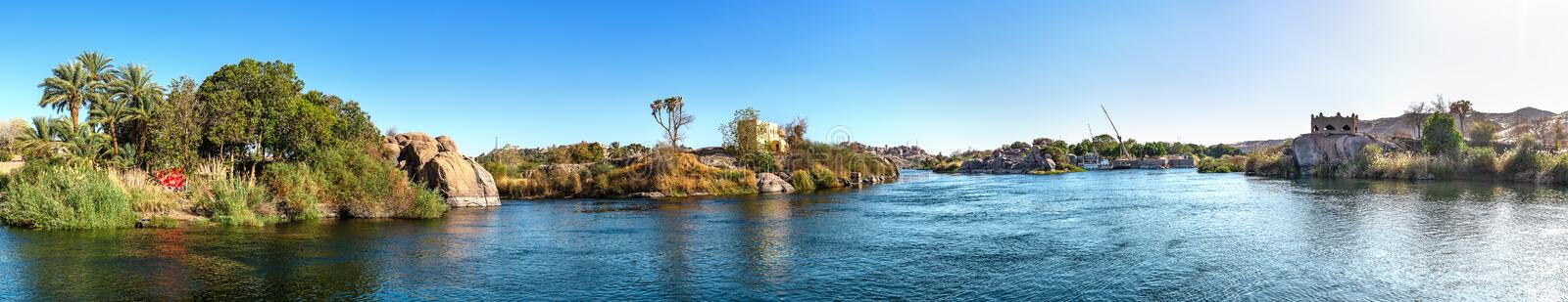 River Nile in Aswan. Panoramic view of river Nile in Aswan at sunset, Egypt stock photography