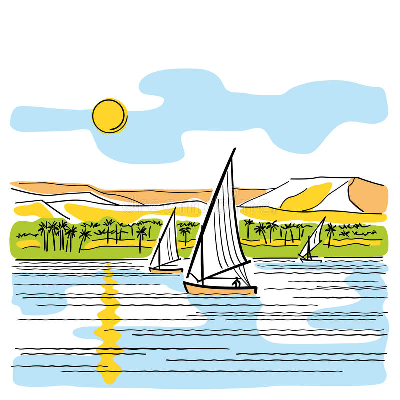 River Nile in Egypt. View of the Nile with sailing boats. Vector illustration in sketch style stock illustration