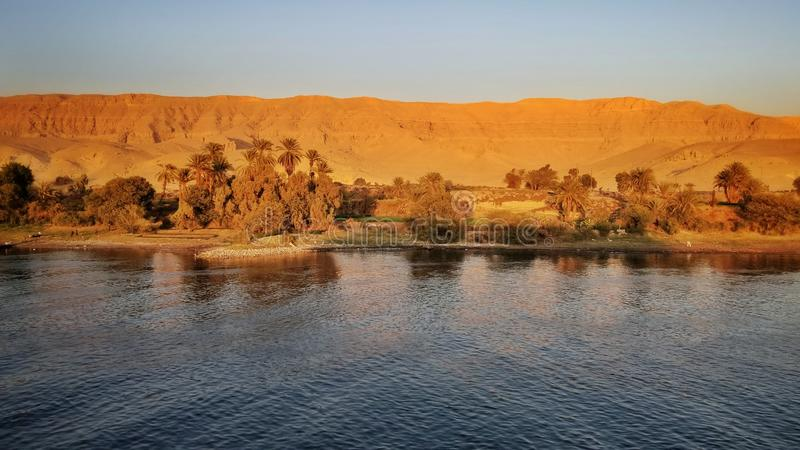 River Nile before sunset. Scence along Nile River before sunset stock photography