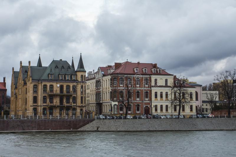 River Oder embankment in cloudy weather in Wroclaw. Poland.  stock photo