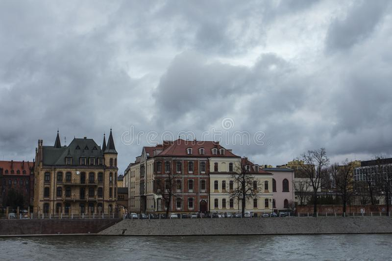 River Oder embankment in cloudy weather in Wroclaw. Poland.  royalty free stock images