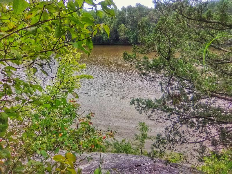River in Oklahoma seen between trees standing on a cliff royalty free stock photography
