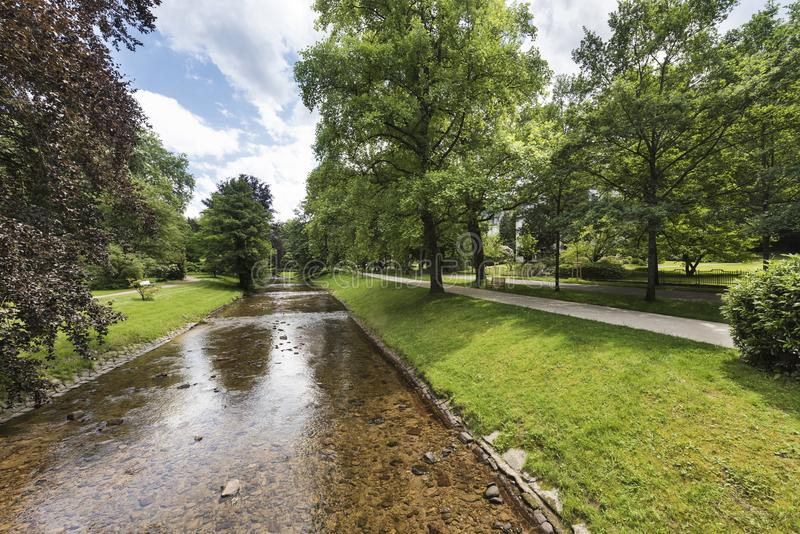 River Oos and the famous Lichtentaler Allee in Baden Baden. Where emperors and czars strolled. Baden Wuerttemberg, Germany, Europe stock photo