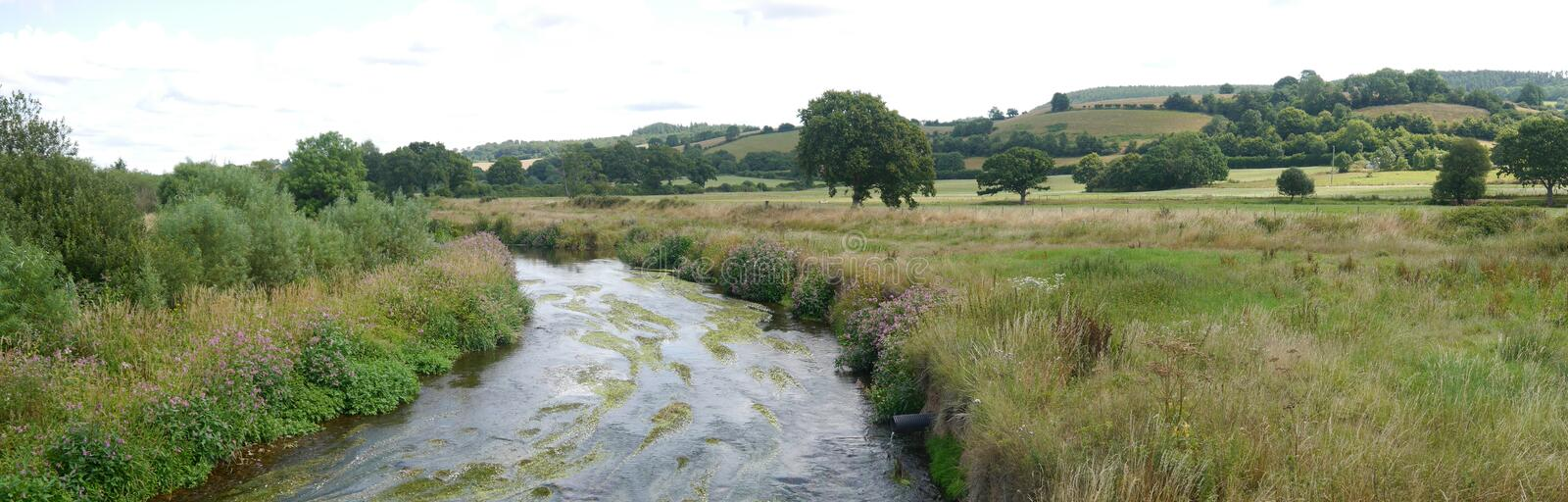 Panorama of a typical Devon scene in the English countryside in Summertime royalty free stock photo