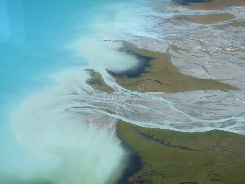River outlet, Lake Pukaki Mount Cook, New Zealand royalty free stock photo