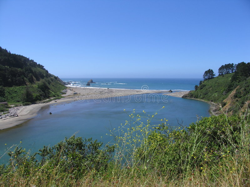 Download River Outlet Near Mendocino Stock Image - Image of beach, sand: 6735733