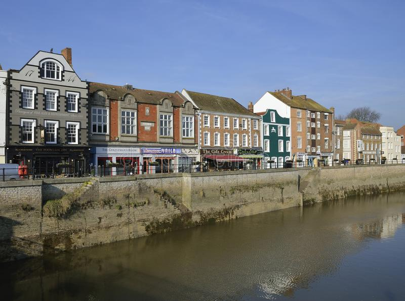 West Quay, Bridgwater. River Parrett and West Quay, Bridgwater, Somerset royalty free stock photos