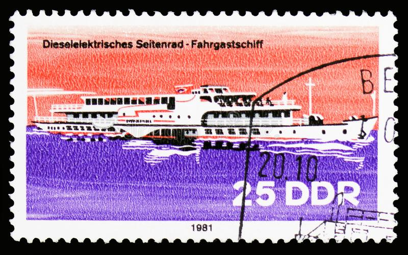 River passenger ship, Barges serie, circa 1981. MOSCOW, RUSSIA - OCTOBER 6, 2018: A stamp printed in Germany, Democratic Republic shows River passenger ship stock image
