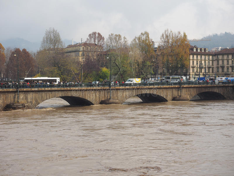 River Po flood in Turin. TURIN, ITALY - CIRCA NOVEMBER 2016: River Po flood in city centre royalty free stock photography
