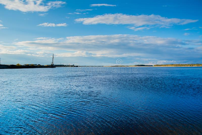 River port Nadym river and river Nadym. Yamal. Arctic nature stock photos