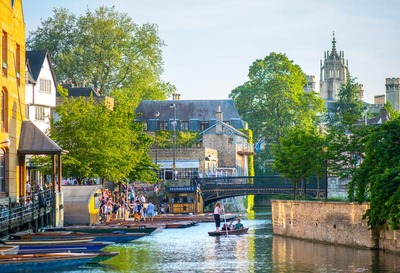 River punts and pubs. Cambridge In the East Anglia county hosts the 2nd oldest university in the world, a beautiful slow flowing river, numerous parks, punts and stock image