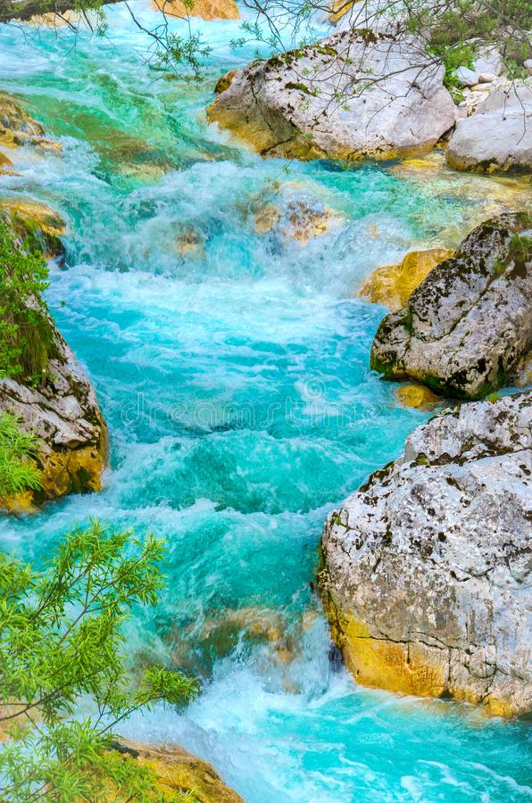 River rapids close up vertical background nature Soca the emerald colored river waters.  stock photos
