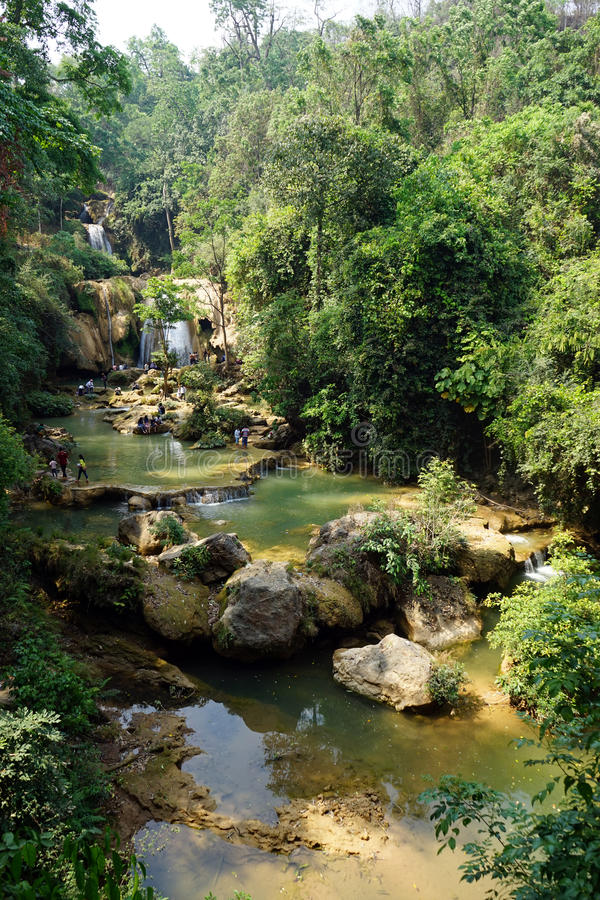River with rapids. River near Peik Chin Myaung caves stock photo