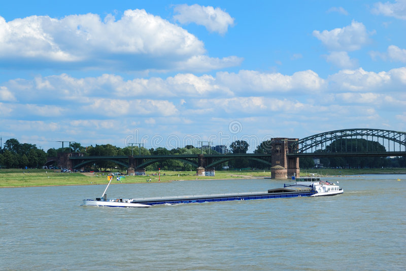 River rhine. Vessel on the river rhine stock image