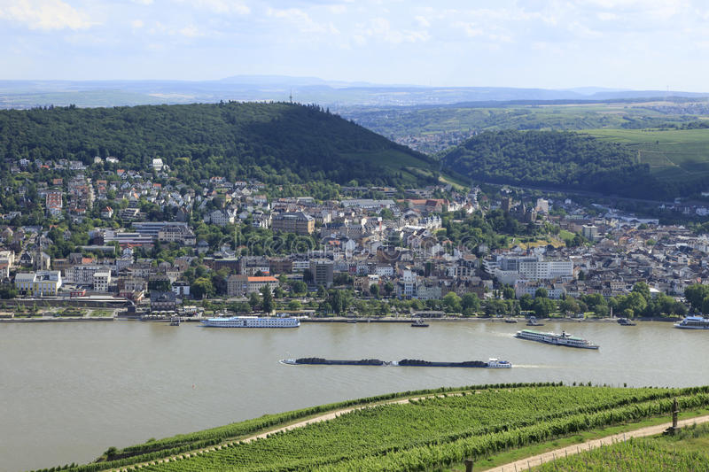 River Rhine. With barge transports and Vineyards stock photography