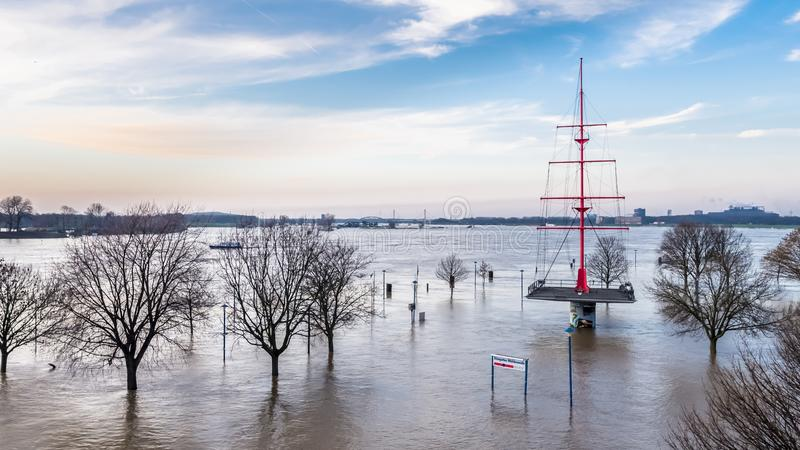 The river RHine in full spate by Duisburg during the Flooding of January 2018. The river Rhine in full spate by Duisburg in Germany during the Flooding of stock image