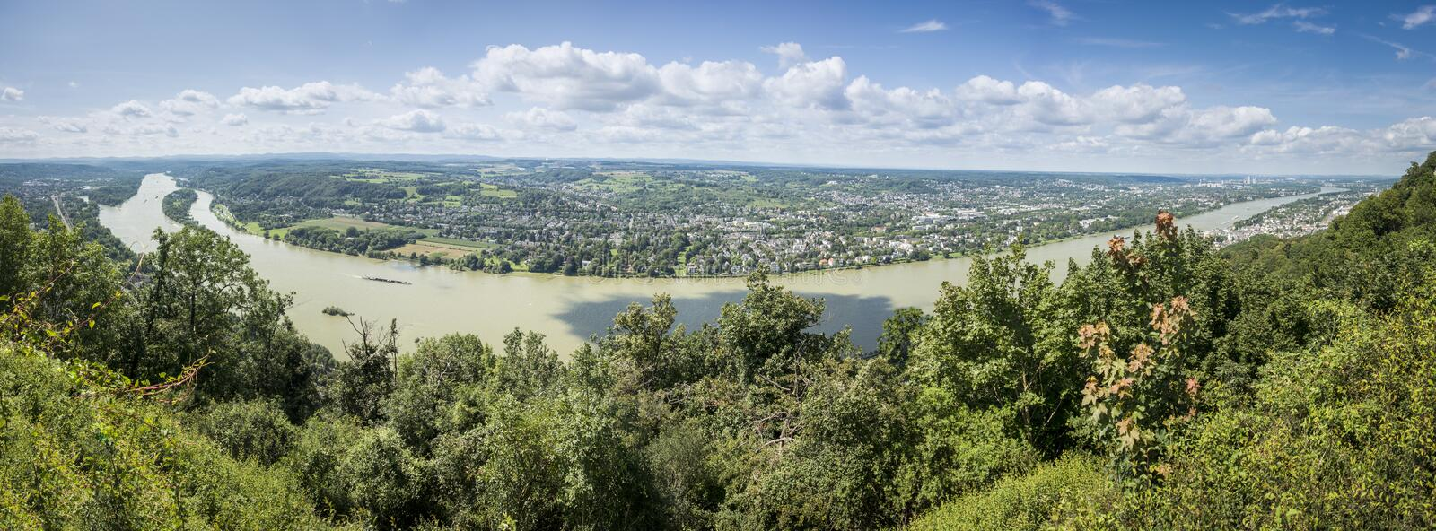 River Rhine Panorama. Panoramic view of the river Rhine from Drachenfels, with Bonn in the distance, Germany stock image
