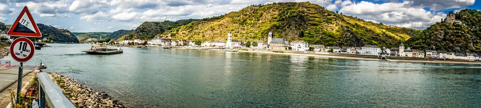 River Rhine. View of beautiful River Rhine on a summer day in St. Goar stock photos