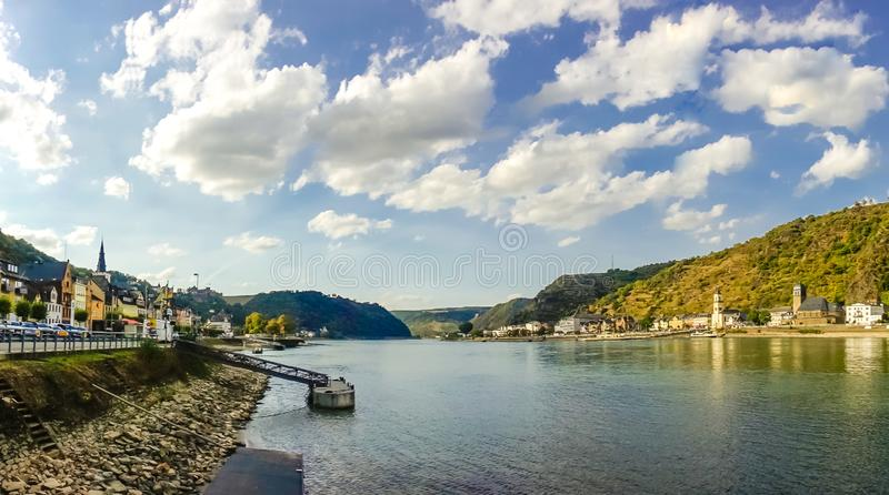 River Rhine. View of beautiful River Rhine on a summer day in St. Goar royalty free stock photo