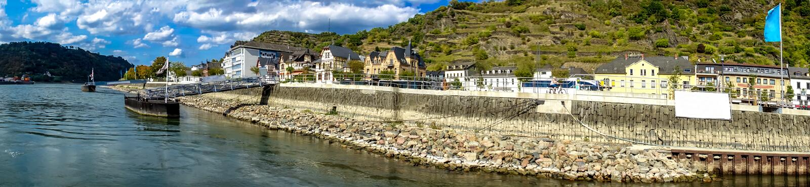 River Rhine. View of beautiful River Rhine on a summer day in St. Goar royalty free stock image