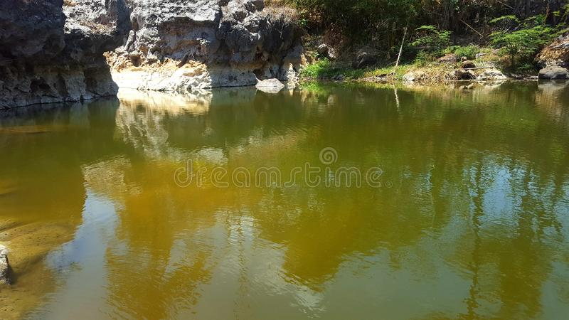 River with rock cliffs and clear water. Seemed to dry up due to long drought royalty free stock photography