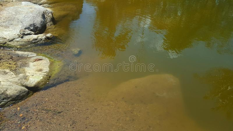 River with rock cliffs and clear water. Seemed to dry up due to long drought royalty free stock photo