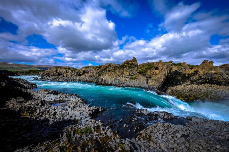 River with rocky shores royalty free stock photography