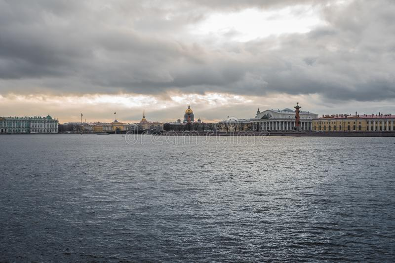 River Saint-Petersburg embankment historical building clouds day. Saint-Petersburg historical building city day river water stock photos