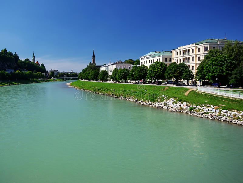 Download River in Salzburg stock photo. Image of homes, germany - 12927556