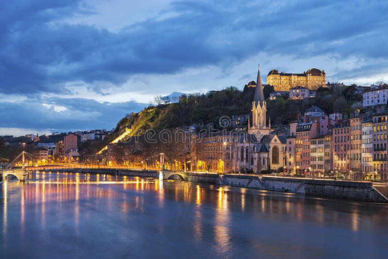 River saone at night. Bridge over river saone at night, Lyon, France royalty free stock image