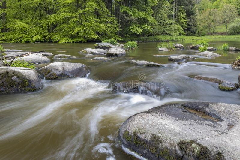 River Sazava near Smrcna, Czech Republic. Nature, water, forest, landscape, green, natural, tree, travel, stream, background, outdoor, view, scenery, stone stock images