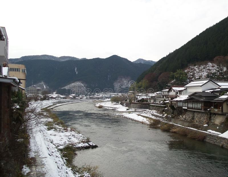River Scene at Takayam Japan. Mystic Scenic River view looking over the takayema winter scence awe with beauty royalty free stock image
