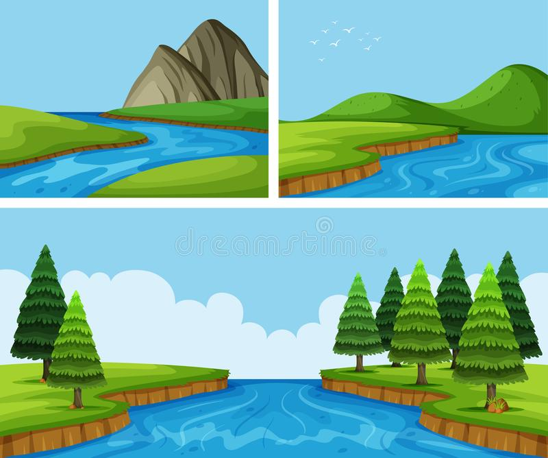 River scenes with pine trees stock illustration