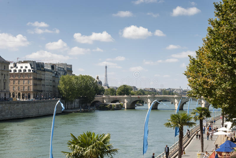 The River Seine - Paris - France. The river Seine in Paris France with the Eiffel Tower in the background royalty free stock photo