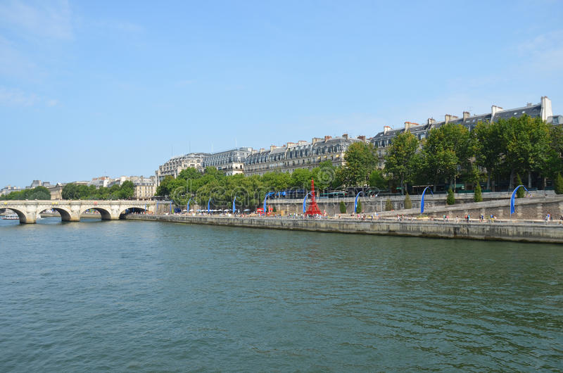River Seine Paris with red Eiffel Tower stock photography