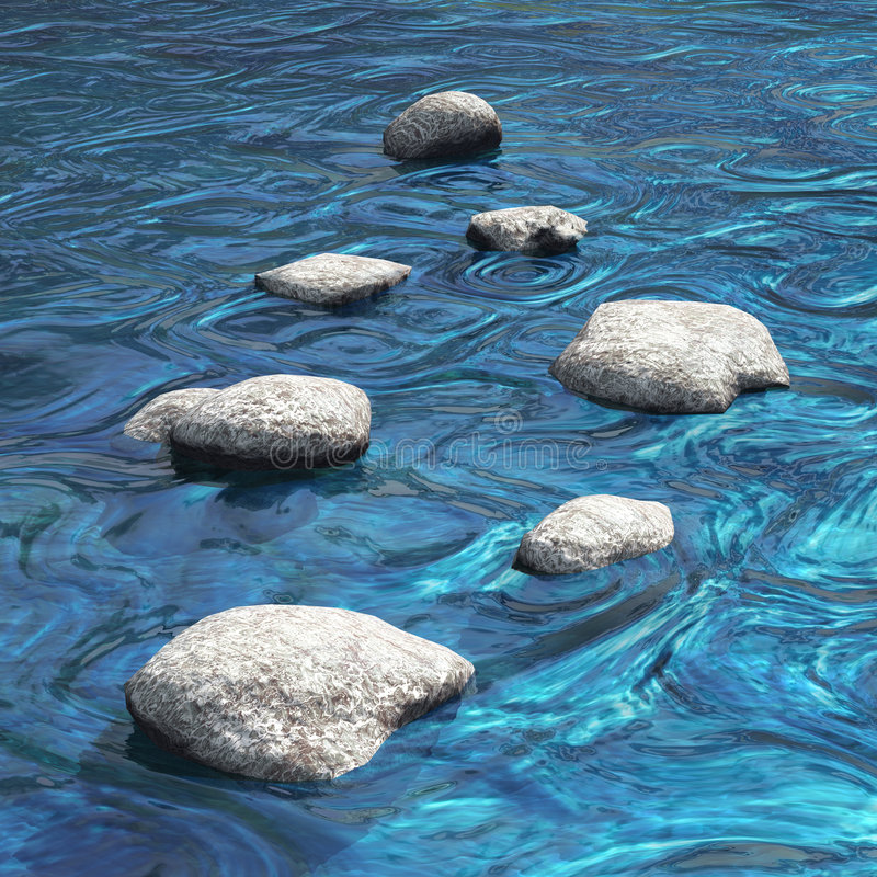 River with seven stones water scene stock photos