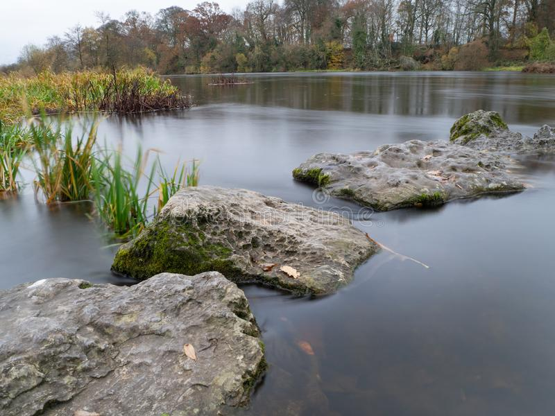 River Shannon Stepping Stones. The stepping stones at fishing beats on the river Shannon at Castleconnell royalty free stock photography