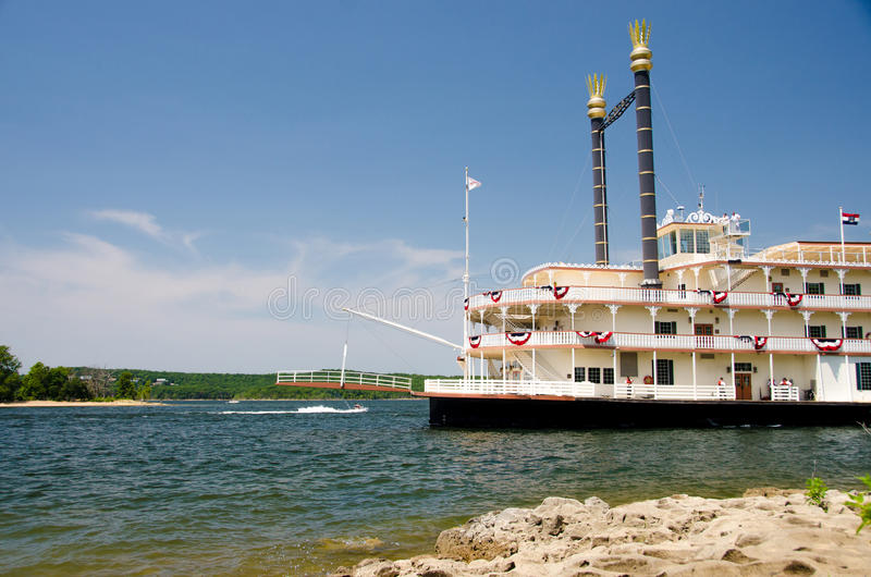 River Showboat in Branson. The Showboat Branson Belle sailing from port / dock on the river. Taken in Branson, Missouri stock photos