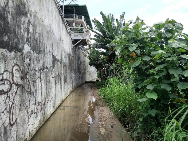 River side. The river side after a consecutive days of raining in Cagayan-de-oro, Philippines royalty free stock photography