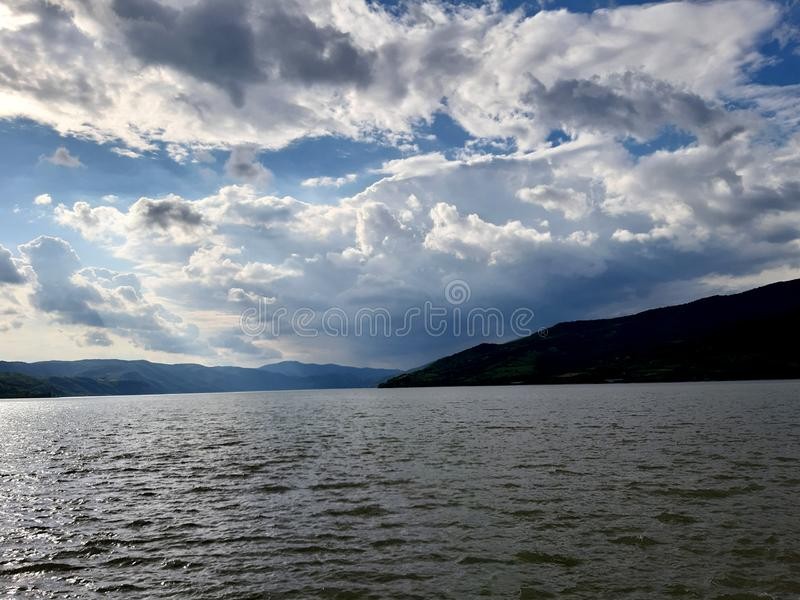 River side East Serbia. River side  serbia. river side  serbia, sky, clouds royalty free stock photo