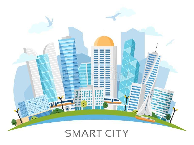 River side smart city arch landscape vector illustration