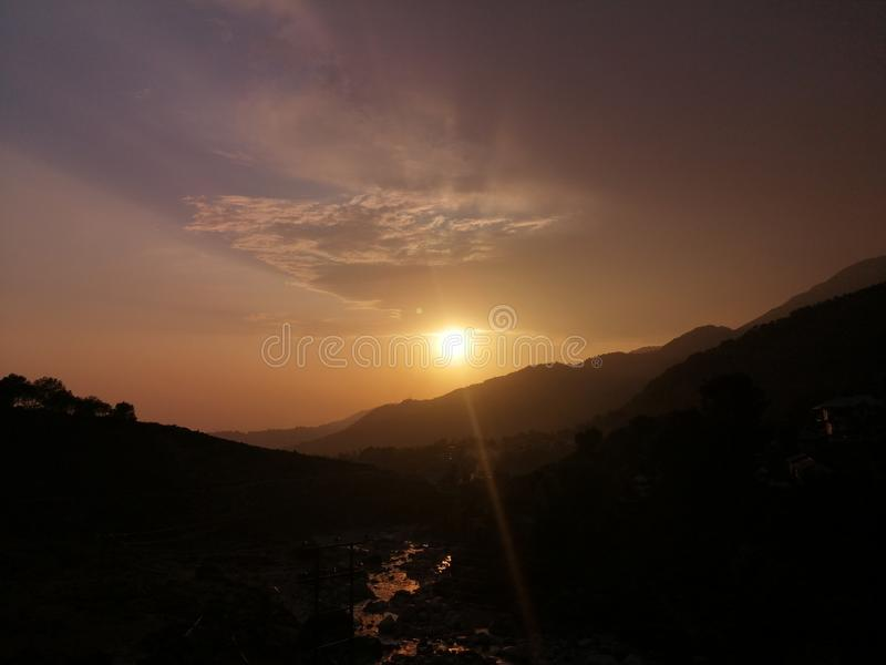 River side Sunset. Mountain, riverside stock photography