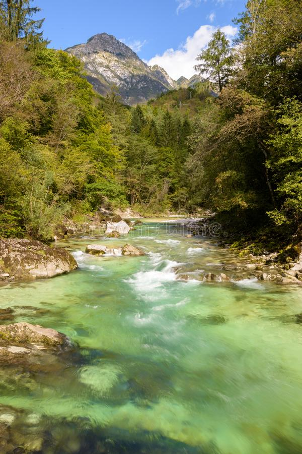 The river Soca with mountain view in Triglav national park. In Slovenia stock images