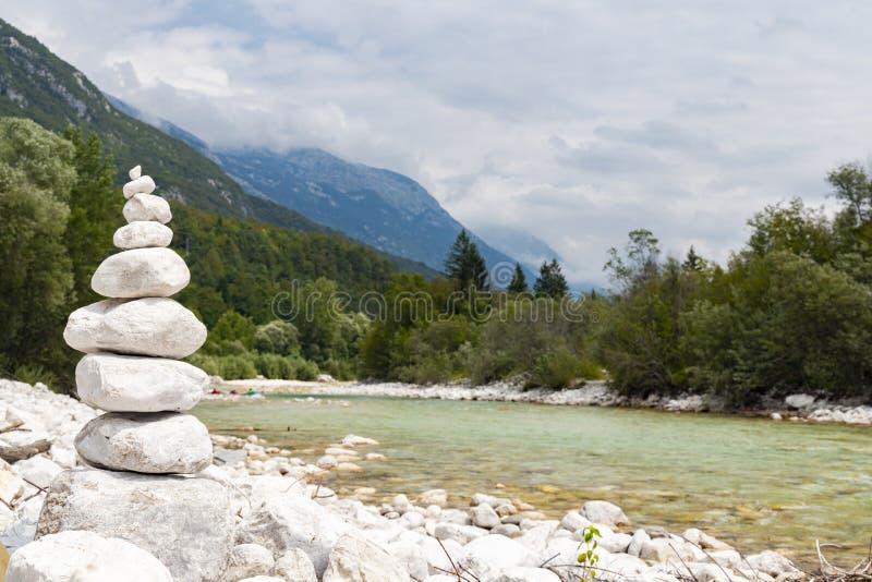 River Soca near Bovec, Slovenia. Alpine, alps, background, beautiful, colorful, environment, europe, forest, idyllic, julian, landmark, landscape, mountain stock image