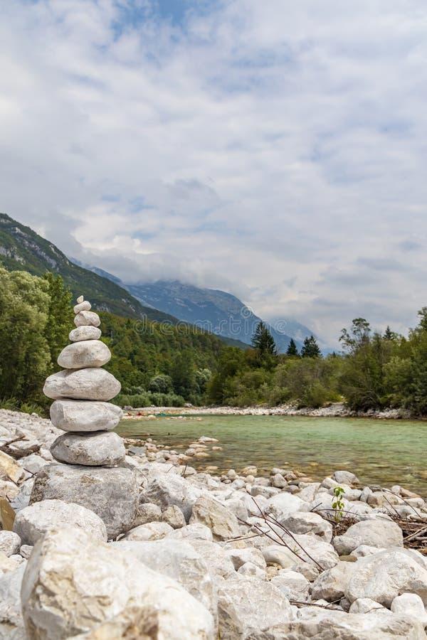 River Soca near Bovec, Slovenia. Alpine, alps, background, beautiful, colorful, environment, europe, forest, idyllic, julian, landmark, landscape, mountain stock photo